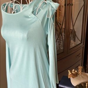 She and Sky Mint Green Cold Shoulder Tunic
